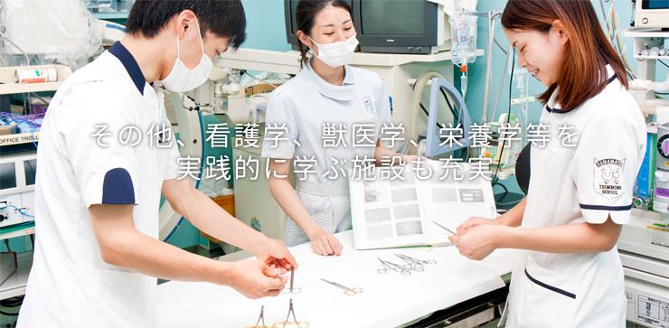 その他、看護学、獣医学、栄養学等を実践的に学ぶ施設も充実